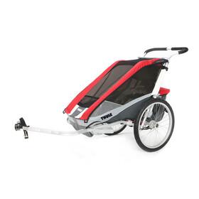 Thule Chariot Cougar 1 Przyczepka rowerowa + Bicycle Trailer Kit czerwony/srebrny
